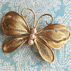 NAPIER Gold Filagree Butterfly Brooch